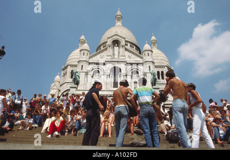 Street Musicians outside Sacre Coeur Paris France - Stock Image