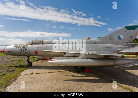 MiG-21R of ex Czech Air Force, Vyskov base near Brno - Stock Image