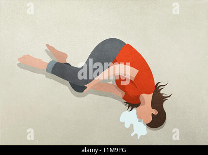 Woman crying over spilled milk - Stock Image