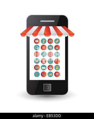 App icons on smartphone screen as a shop front - Stock Image