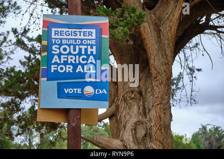 South African election poster for the May 2019 election for the Democratic Alliance, urging to Register to builld country for all - Stock Image