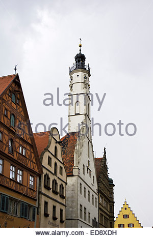 The 60-meter Gothic (CE 1250 – 1400) Rathausturm, or city hall tower, has an accessible 52-meter-high viewing platform. - Stock Image
