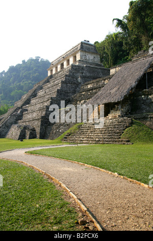 Temple of Inscriptions and Temple XIII from the Palace, Palenque Archeological Site, Chiapas State, Mexico. - Stock Image