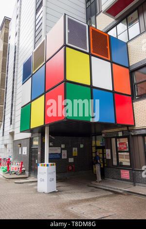 Rubik's cube type art installation outside Great Ormond Street Hospital in London, England, UK - Stock Image
