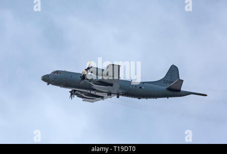 Lockheed P-3C Orion surveillance aircraft,registration 3299, of the Norwegian Air Force, in flight over the Norwegian Fjords. - Stock Image