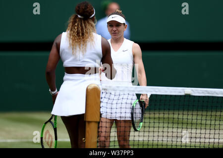 London, UK. 13th July, 2019.London, UK. 13th July, 2019. The All England Lawn Tennis and Croquet Club, Wimbledon, England, Wimbledon Tennis Tournament, Day 12; Simona Halep (ROM) shakes hands with Serena Williams (USA) as she becomes ladies singles Wimbledon champion Credit: Action Plus Sports Images/Alamy Live News Credit: Action Plus Sports Images/Alamy Live News - Stock Image