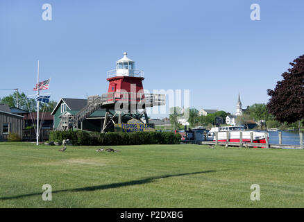 Historic North Pier Lighthouse displayed at Rogers Street Fishing Village Museum, Two Rivers, Wisconsin - Stock Image