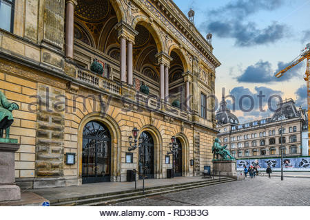 The exterior facade of the Royal Danish Theatre on a cloudy day in the historic center of Copenhagen, Denmark. - Stock Image