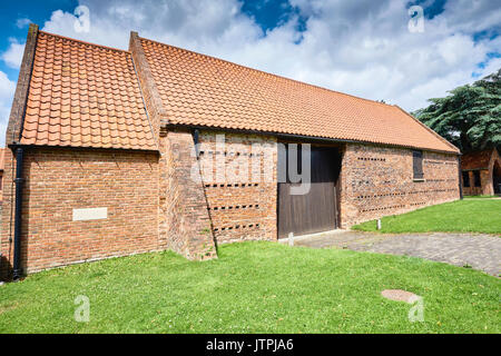 Exterior external view of the 16th Century 16C Nether Poppleton Tithe Barn - Stock Image