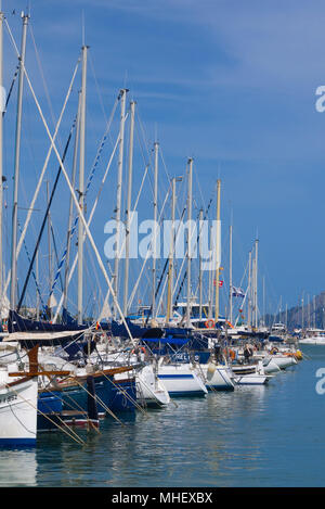 Mallorca, Spain - July 8, 2017: A row of yachts docked in a marina in Port de Pollenca, Mallorca, Spain. - Stock Image