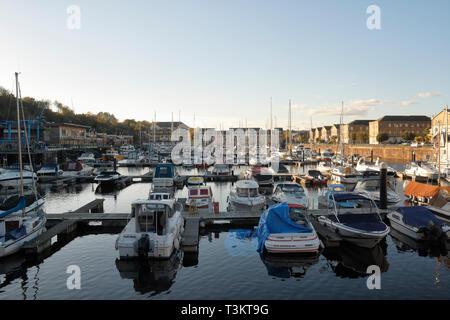 Boats moored in Penarth Marina, Wales UK - Stock Image