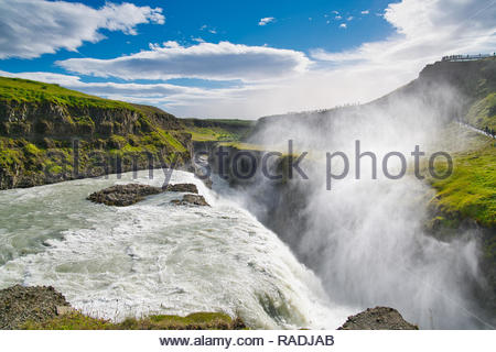 View of the Gullfoss water falls on the river Hvita near Haukadalur in southwestern Iceland - Stock Image