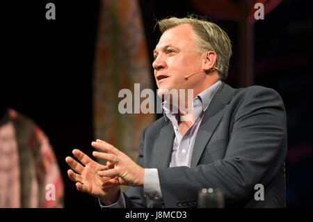 Ed Balls talking about his career in politics at Hay Festival 2017 Hay-on-Wye Powys Wales UK - Stock Image