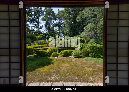 Ioji Temple Garden is composed of two main gardens:  The Garden of Dry Mountains and Waters which has been attributed somewhat erroneously to Kobori E - Stock Image