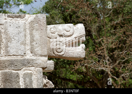 Detail of Serpent Head Carving on the Platform of the Eagles and Jaguars, Chichen Itza Archaeological Site, Yucatan, - Stock Image