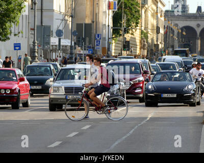 Germany Munich Leopold street university district zebra crossing - Stock Image