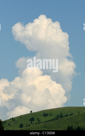 white cloud over dzembronya landscape in ukraine - Stock Image