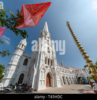 Square view of St. Thomas Cathedral in Chennai, India. - Stock Image