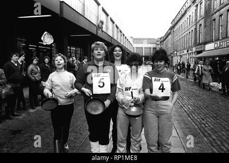 The Shrove Tuesday Jiff Lemon's  Pancake Race in Clayton Street, Newcastle on 8th February 1983 - Stock Image