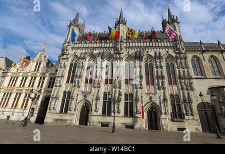 Bruges City Hall on Burg Square. Bruges, Flemish Region, Belgium. - Stock Image