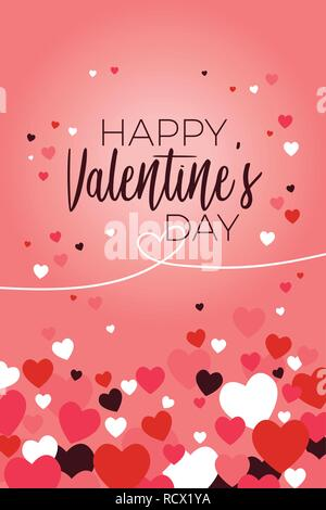 A vector illustration of Happy Valentine Day Greeting Card - Stock Image