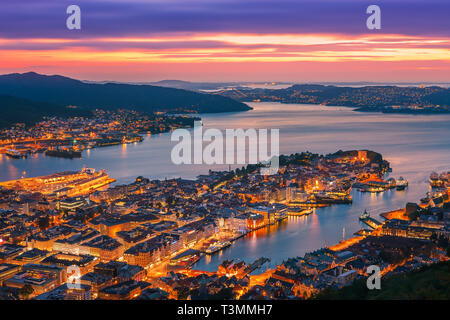 Bergen (historically Bjørgvin), is a city and municipality in Hordaland on the west coast of Norway. - Stock Image
