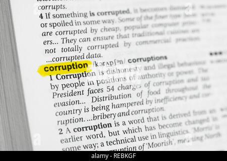Highlighted English word 'corruption' and its definition at the dictionary. - Stock Image