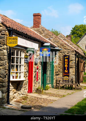 The Village store,  Post Office and Chemists shop at the Ryedale Folk Museum in Hutton le Hole North Yorkshire England UK - Stock Image