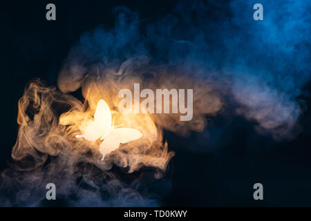 Shining butterfly from paper on a dark background with gradient warm and cold smoke. Magical creature concept with copy space - Stock Image