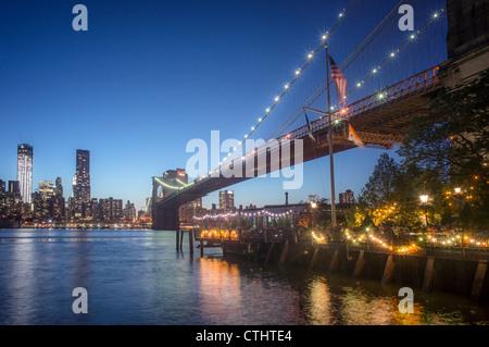 River Cafe at Brooklyn Bridge, New York city, USA - Stock Image