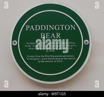 Paddington Bear Plaque - Stock Image