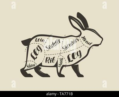 Cutting rabbit meat. Menu for restaurant or butcher shop. Vector vintage - Stock Image