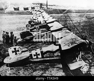 German Air Force Albatross D.III fighter planes lined up at Douai in France during World war One. These aircraft were used from 1916 by the German Forces. - Stock Image