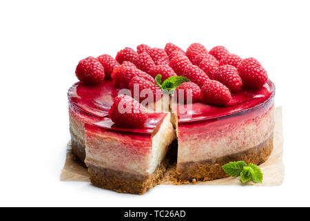 Homemade  cheesecake with raspberry jelly isolated on white - Stock Image