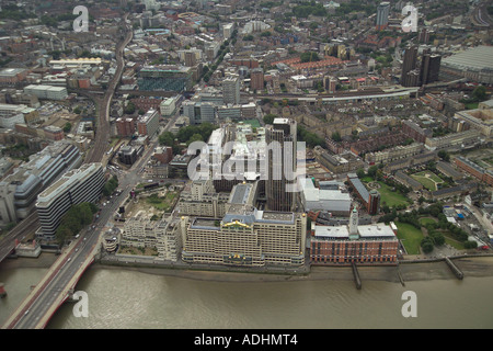 Aerial view of Sea Containers House, Kings Reach Tower and Oxo Tower Wharf on the South Bank of the Thames in London. - Stock Image