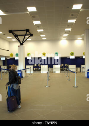 Inside the new departures terminal for 2019 at Ioannis Kaposistrias airport Corfu, Greece, - Stock Image