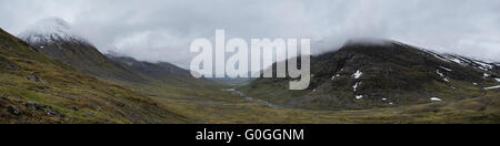Panoramic view down Tjäktjavagge valley from Tjäktja pass, the highest point on the Kungsleden trail, - Stock Image