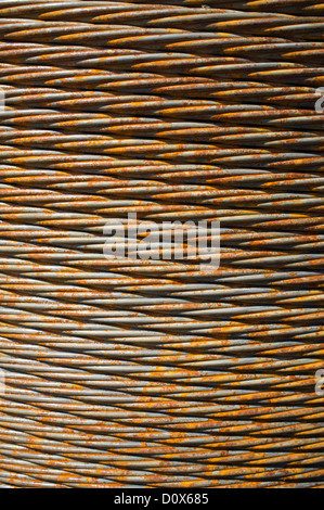 Closeup of braided extra strong steel rope - Stock Image