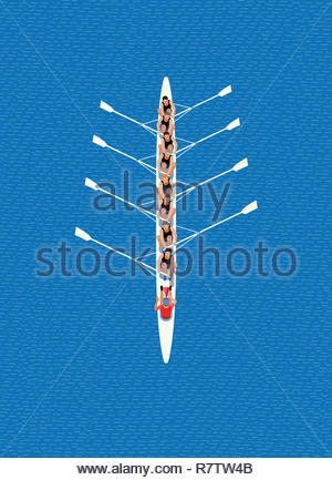 Overhead view of male rowing eight team - Stock Image