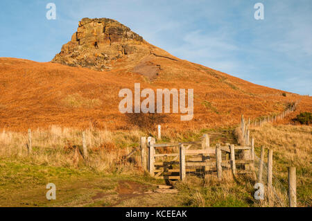 A kissing gate on the footpath to Roseberry Topping, a prominent and distinctive hill on the northern edge of the - Stock Image