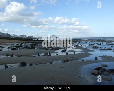 Eastbourne beach with pier in the distance - Stock Image