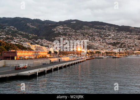 Portugal, Madeira Island, cityscape of Funchal from the Cruise Terminal - Stock Image