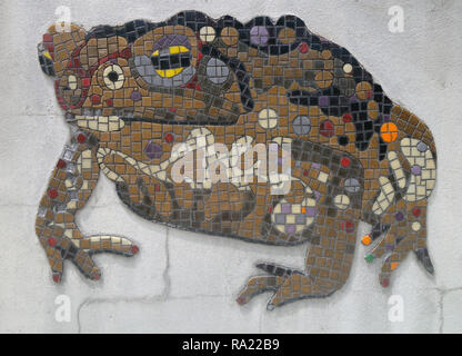 Detail of cane toad mosaic at Cane Toad World, celebrating the site where these now notorious invasive pests were first released in Australia, Gordonv - Stock Image