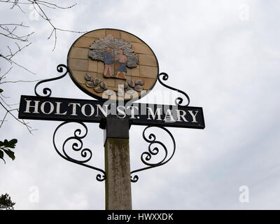 Holton St Mary village sign, Suffolk England UK. - Stock Image