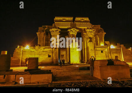 Night time views of the entrance to the Temple of Kom Ombo, Aswan, Egypt, Africa - Stock Image