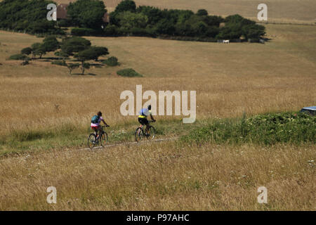 Beachy Head, UK - July 14 2018: Cyclist race on a  road  through the Eastbourne Downland Estate grasslands by the hilltop of the chalk sea cliff at Beachy head on a hot summers day on 14 July 2018. Temperatures raised to 27 degrees and is expected to stay high for another month. The cliff, the highest chalk sea cliff in Britain rises to 162 metres above sea level and unfortunately one of the most notorious suicide spots in the world. Credit: David Mbiyu - Stock Image