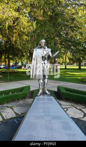 Metallic Shakespeare sculpture in Stratford, Ontario, Canada. - Stock Image