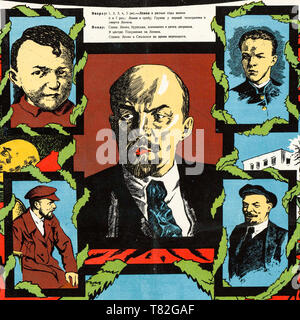 Lenin poster, Lenin as a boy, young man and leader (detail), 1925 - Stock Image