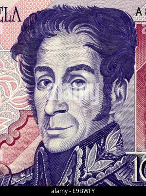 Simon Bolivar on 1000 Bolivares 1998 Banknote from Venezuela. - Stock Image