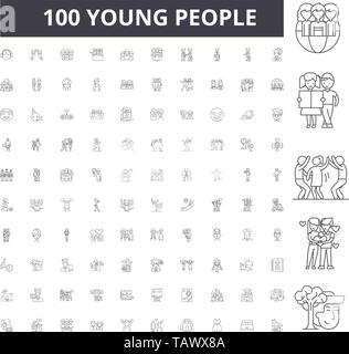 Young people line icons, signs, vector set, outline illustration concept  - Stock Image